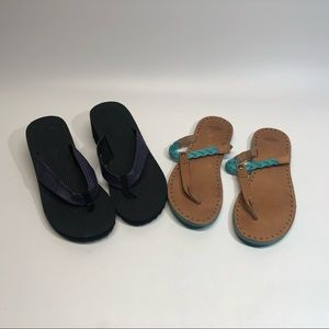 Lot of 2 pairs sandal/ flip flop, ugg, Speedo sz 9
